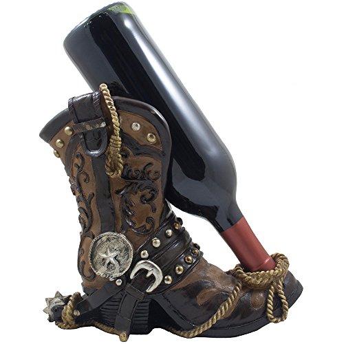 Home-n-Gifts Fancy Cowboystiefel Weinflaschenhalter dekorativen Display Stand Statue mit Seil Ansporn & Texas Star für Country Western Bar Decor und Küche, Weinregalen als tolle Geschenke für Cowboys -
