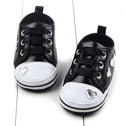 Jamicy® Baby Mädchen Schuhe Mode Leater Soft Sole Krippe Schwarz