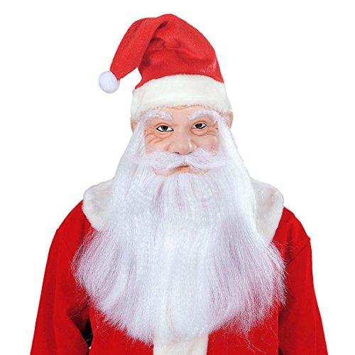 Amakando Weihnachtsmann Masken Set Maske, Mütze, Perücke, Bart und Schnurrbart Nikolaus Maskenset Weihnachtsmannmaske Santa Claus Maske Christmas Verkleidung Kopf