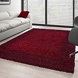 Hochflor Langflor Wohnzimmer Shaggy Teppich 2 Farbig Florhöhe 3cm - Rot-Bordeaux, 240x340 cm