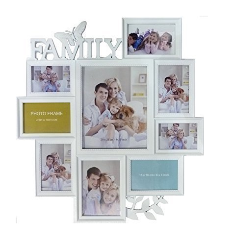 Family Wall Photo Frame White Butterfly Hanging Collage Multi ...