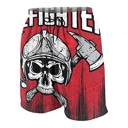 KAKICSA Firefighter Skull Fire Axe Red Mens Hawaiian Shorts Quick Dry Swimming 3D Printed Elastic Beach Short Aloha Short with Pocket,Size:M