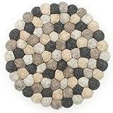 Filzkugel Untersetzer bunt Topfuntersetzer 20 cm per Hand aus reiner Merino Wolle gefertigt in grau braun Tönen