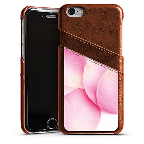 Apple iPhone 5s Housse Étui Protection Coque Rose Feuilles de roses Rose vif Étui en cuir marron