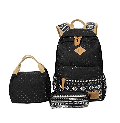 YoungSoul Kids Book Bag Patterned School Backpack & Lunch Bag & Pencil Case, School Bag Sets for Teenage Girls Black Polka Dot