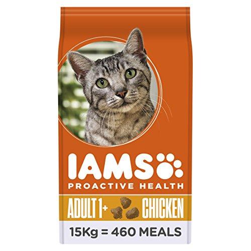 Iams Adult Trockenfutter mit viel Huhn (für erwachsene Katzen, enthält viel hochwertiges tierisches Protein), 15 kg Beutel