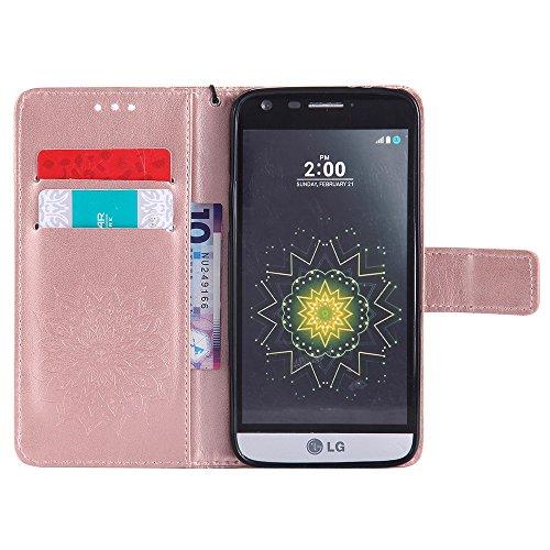 Für LG G5 Fall, Prägen Sonnenblume Magnetische Muster Premium Soft PU Leder Brieftasche Stand Case Cover mit Lanyard & Halter & Card Slots ( Color : Pink ) Rose Gold