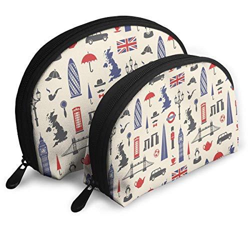 England London UK Portable Reise-Kosmetiktaschen Organizer Set of 2 for Women Teens Girls