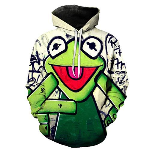 HOOYM 3D Pullover Hoodie Für Männer Und Frauen Frosch Figur Drucken Hoodie Männer Und Frauen Mit Sweatshirt Pullover Mode Tasche Männlichen Hoodie -