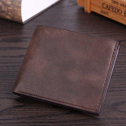 Amazingdeal365 Uomo Tempo Libero Pu Pelle Breve Portafoglio Business Card Holder Borsa (Nero) Caffè