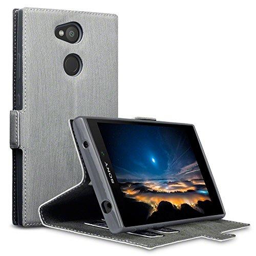 Terrapin, Kompatibel mit Sony Xperia L2 Hülle, Leder Tasche Case Hülle im Bookstyle mit Standfunktion Kartenfächer - Grau