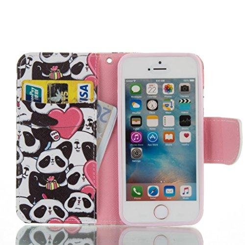 """Trumpshop Smartphone Case Coque Housse Etui de Protection pour Apple iPhone 6/6s Plus 5.5"""" + Arbre Coloré + Ultra Mince Smartcoque Portefeuille PU Cuir Fonction Support Anti-Choc Panda"""