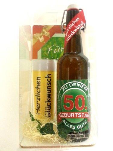 Geschenk Set, Bierset Bier Geschenk zum 50. Geburtstag, Bierflasche mit Etikett, Glas Bierkrug und Geschenk Postkarte
