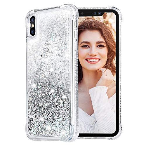 HWeggo Glitzer Hülle Kompatibel mit iPhone XR, iPhone XR Flüssig Bewegende Treibsand Transparent Handyhülle Glitzer Luxury Bling Case Cover - Silber