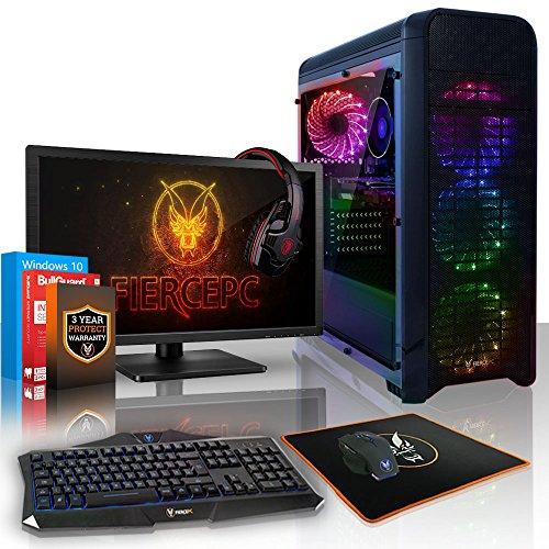 Fierce SCALEBEARER RGB Gaming PC Bundeln - 3.8GHz 4-Core AMD Athlon X4 950, 2TB SSHD, 8GB, GTX 1050 Ti 4GB, Win 10, Tastatur (QWERTY), Maus, 21.5-Zoll-Monitor, Headset 534442