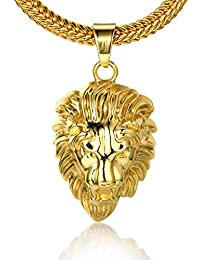 """Halukakah """"KINGS LANDING"""" Men's 18k Real Gold Plated 3D Lion Pendant Necklace,with FREE SharkTail Chain 30"""""""