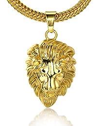 """Halukakah《ROARING LION》Le Collier de l'homme en 18K Or Véritable et Doré avec la Tête 3d du Lion et La Chaîne Gratuit de 30"""""""