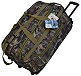 Explorer Mossy Oak with Khaki Trim -Realtree Like- Hunting Camo 30 Inch Heavy Duty Rolling Duffel Bag with Pulling Handle 2 Wheels with Adjustable Removable Shoulder Strap by Explorer