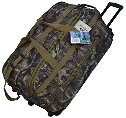 Explorer Mossy Oak with Khaki Trim -Realtree Like- Hunting Camo 22 Inch Heavy Duty Rolling Duffel Bag with Pulling Handle 2 Wheels with Adjustable Removable Shoulder Strap by Explorer