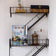 ANDEa Escalera industrial rural retro Escalera del hierro Estantería de la cremallera del estante originalidad ( Color : Negro )