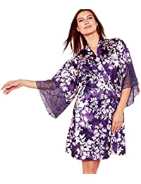 ea27cffd5e The Collection Womens Purple Floral Print  Mystry  Satin Kimono Dressing  Gown