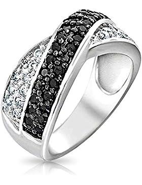 Bling Jewelry Sterling-Silber Kreuzmotiv Schwarz Weiß Cubic Zirkonia Ring
