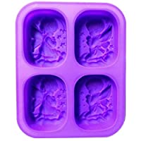 doitsa 1Pcs Angel Soap Mold Silicone Soap Craft Clay 4Model and Lattice Angel Angel Candle Mould Silicone Cake Mould