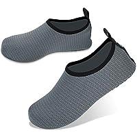 JOTO Water Shoes for Women Men Kids, Barefoot Quick-Dry Aqua Water Socks Slip-on Swim Beach Shoes for Snorkeling Surfing Kayaking Beach Walking Yoga –Dark Grey Twill