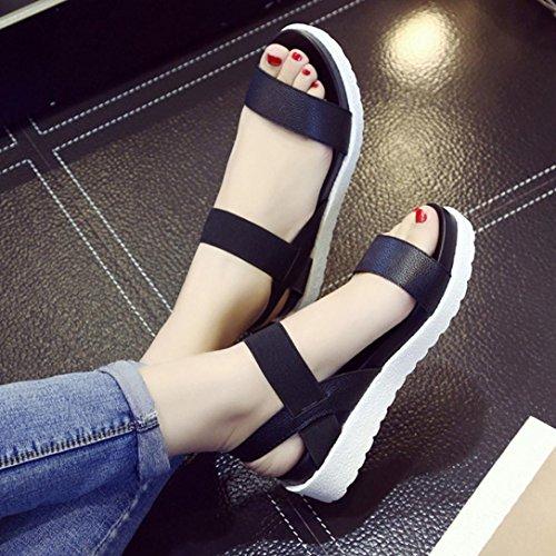FEITONG Sandalen Frauen im Alter von Leder Rom Stil flache Sandalen Damen Schuhe Schwarz