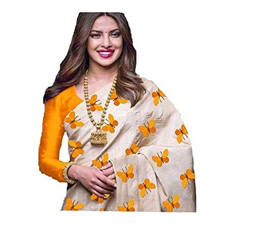 Navabi Export Cotton Silk Saree With Blouse Piece (Yellow Titli_Free Size)