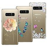 Yokata [3 Packs] Kompatibel mit Hülle Samsung Galaxy Note 8 Silikon Transparent Durchsichtig Handyhülle Schutzhülle TPU Dünn Slim Kratzfest mit Motiv - Turm Fahrrad + Blumen Schmetterlinge + Blumen