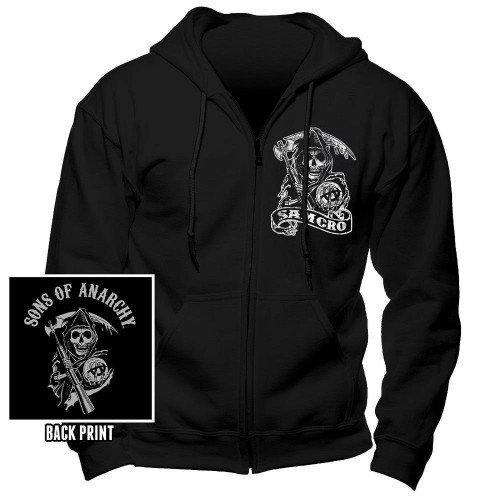 Coole-Fun-T-Shirts FT Sons of Anarchy Redwood SOA Samcro ! Sweatshirt Zipper schwarz-Weiss Gr.XXL Anarchy Sweatshirt