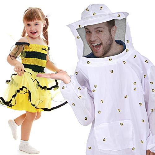 Designs Kostüm Biene Kleine - SATINIOR Cosplay Bee Jacket Belüfteter Imkeranzug und 100 Stücke Kleine Holzbiene für Damen Männer Kostüm Party Lieferungen