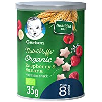 Gerber Organic Nutripuffs Raspberry & Banana Baby Food Can, 35g