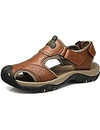 Onfly Hombres Chicos Dedo del pie cerrado Cuero Casual Sandalias Zapatillas Antideslizante Respirable Para caminar Al aire libre Sandalias Zapatos de agua Zapatillas de deporte ocasionales Playa Zapatos San , brown , 38