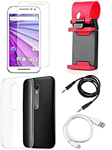 NIROSHA Tempered Glass Screen Guard Cover Case USB Cable Mobile Holder for Motorola G3 - Combo