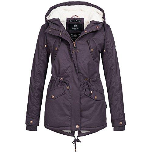 Marikoo MANOLYA Damen Jacke Parka Mantel Winterjacke warm gefüttert Teddyfell 4 Farben, Größe:M - 38;Farbe:Lila