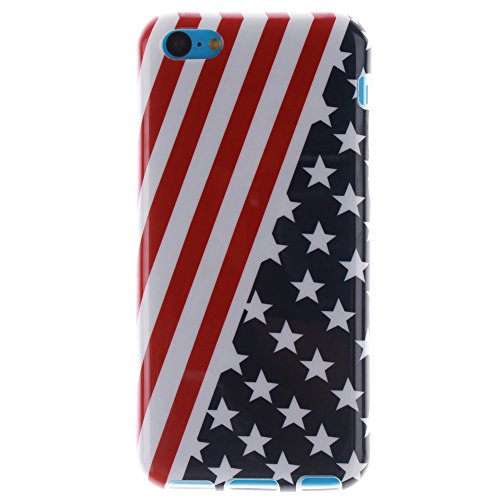 Pour Apple iPhone 5C pouce Cas, MCHSHOP Ultra-mince TPU Silicone Cover souple Phone Housse Coque de protection pour iPhone 5C - 1 gratuit Touch Pen (belle bleue) Drapeau des états-Unis