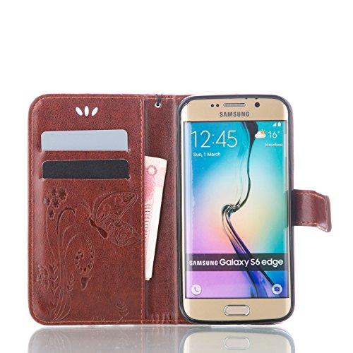 Galaxy S6 Edge Hülle,Galaxy S6 Edge Schutzhülle,Galaxy S6 Edge Case,Galaxy S6 Edge Leder Wallet Tasche Brieftasche Schutzhülle,ikasus® Prägung Klee Blumen Muster PU Lederhülle Flip Hülle im Bookstyle  Groß Schmetterling:Braun