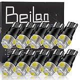 BeiLan T10 LED Bombilla W5W 194 168 2825 501 6000K Blanco Super Brillante 5-SMD 5050 Chipsets Lampara de repuesto para Coche Cúpula Mapa Puerta Luces de cortesía Paquete de 10 (no Canbus)