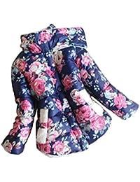 filles Manteau - SODIAL(R)Cache-poussiere doux mince et magnon de filles pour hiver Veste Bleu fonce Taille 8