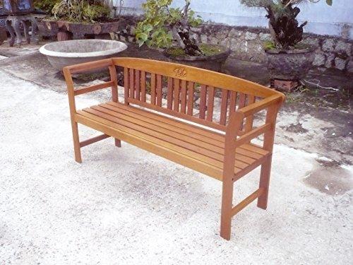 Gartenbank mit geschnitzter Rose, 3-Sitzer Bank, EukalyptusholzFSC, geölt