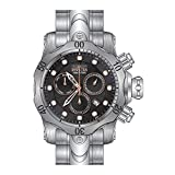 INVICTA MEN'S VENOM STEEL BRACELET & CASE SWISS QUARTZ BLACK DIAL WATCH 23886