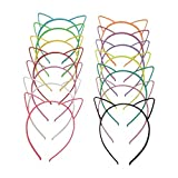 Flying swallow 14 Pezzi Cerchietti Fermacapelli a Orecchio di Gatto in Plastica Gatto Fasce per Capelli di Trucco Festa per Donne Ragazze, Multicolore