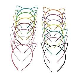 Flying swallow 14 Pezzi Cerchietti Fermacapelli a Orecchio di Gatto in Plastica Gatto Fasce per Capelli di Trucco Festa…