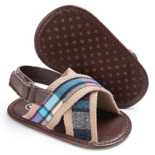 Igemy 1Paar Baby Kleinkind Leinwand Jungen Nette Krippe Schuhe T-gebundene Soft Prewalker Soft Sole Anti-Rutsch Schuhe Sandalen Braun