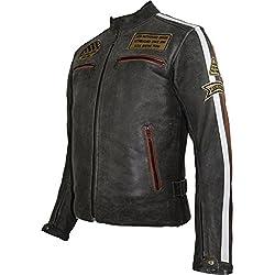 Chaqueta de moto de piel retro para hombre vintage large
