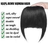 Frange a Clip Cheveux Naturel Extension en 100% Cheveux Humains Postiche Vrai Cheveux Lisse Remy Hair Bang Fringe - #1 NOIR FONCE