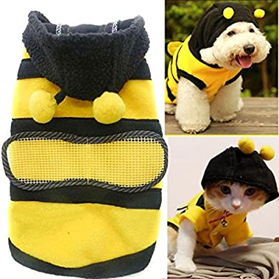 Cute Bee Design Pet Dog Polar Fleece Cloth Clothing Cat Clothes Puppy Hoodie Plush Warm Winter Coat Apparel Costume Accessory for Dogs Pets with Hat