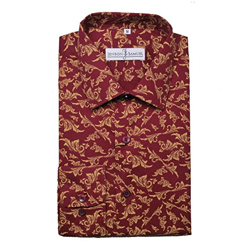 Herren Hemd, 100% Baumwolle, reguläre Passform, bedruckt mit floralem Paisley-Muster, S M L XL 2XL 3XL 4XL, Kragenweite 37–48 cm Gr. XXL, Red Patterned